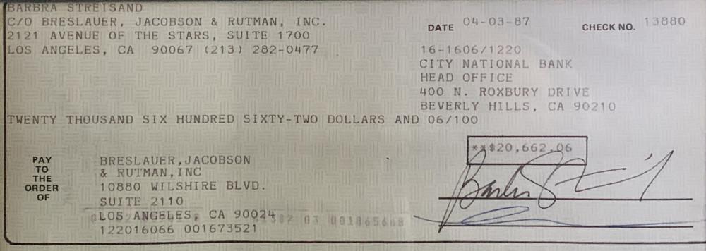 Barbra Streisand Signed/Cancelled Check